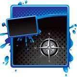 Compass on blue and black grungy halftone template Stock Photography