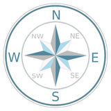 Compass. A blue compass with north east south and west directions Stock Image
