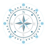 Compass. A blue compass with north east south and west directions Royalty Free Stock Photos