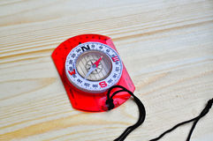Compass on the Board. Royalty Free Stock Photo