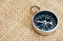 Compass on Burlap Stock Photo