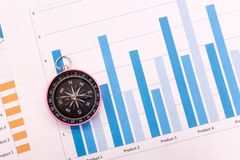 Compass and business graphs. Finance concept Royalty Free Stock Photography