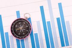 Compass and Business graphs. Finance Concept Stock Photo