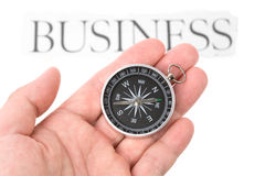 Compass and business sign Royalty Free Stock Photo