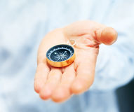 Compass in businessman hand Royalty Free Stock Photo