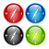 Compass button. Four colors glossy compass button stock illustration