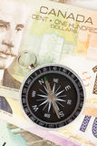 Compass and canadian dollar Stock Image