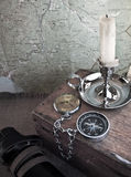 Compass and candle Stock Photo