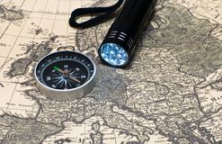 Compass on a card Stock Photography