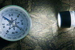 Compass on a card Stock Image