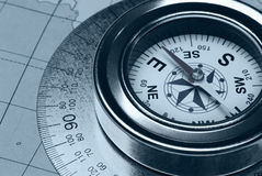 Compass and card Royalty Free Stock Image