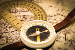Compass on a card Stock Photo