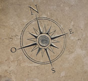 Compass carved in stone Stock Images