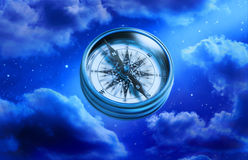 Compass Chance Choices Purpose Life. A compass with a night sky background Stock Photo