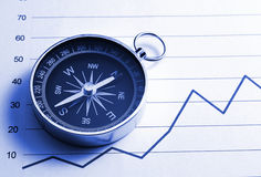 Compass and chart stock photography