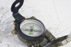 Compass on chart boating Royalty Free Stock Photography