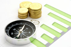 Compass and a chart on the table Royalty Free Stock Images