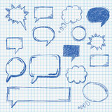 Compass Checked School Paper. Handdrawn speech bubbles set on the checked paper. Eps 10 file vector illustration