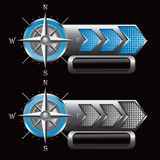 Compass on checkered blue and silver arrow ads Stock Image
