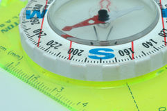 A compass, close up. And at an angle Royalty Free Stock Photo
