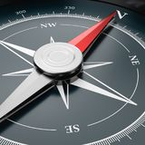Compass Close-up. Metallic Compass with Red Magnetic Needle Pointing Toward the North Close-up 3D Illustration royalty free illustration