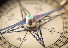 Compass close up. Old vintage compass close up stock image