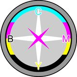 Compass in CMYK. Compass in Cyan Magenta Yellow Black press Stock Image