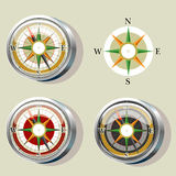 Compass with color variations and wind rose. Illustration of compass with color variations and wind rose Stock Images