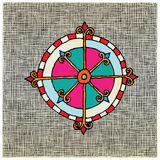 Compass color woodcut Stock Photos