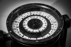 Compass. In big size in black and White. orientation sea Royalty Free Stock Photo
