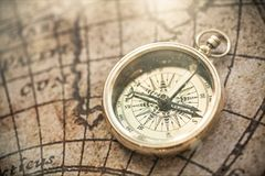 Compass. Map antique world historical history background Stock Photos