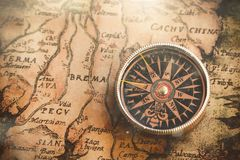 Compass. Map antique world historical history background Stock Photo