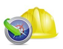 Compass and construction helmet Stock Photo