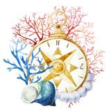 Compass with corals Royalty Free Stock Image