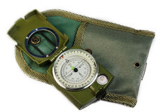 Compass with a cover. On a white background stock image