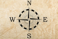 Compass on creased paper Royalty Free Stock Image