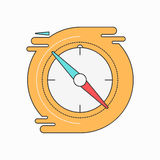 Compass creative symbol concept. Flat thin line sign for web design. Navigation pointer symbol Royalty Free Stock Photos