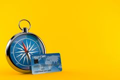 Compass with credit card. Isolated on orange background. 3d illustration Royalty Free Stock Images