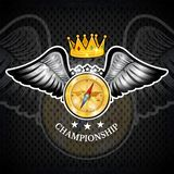 Compass with crown between wings. Sport logo for any yachting or sailing team. Or championship royalty free illustration