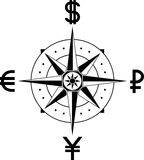 Compass of currencies Royalty Free Stock Photo