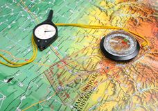 Compass, curvimeter, map Royalty Free Stock Photos