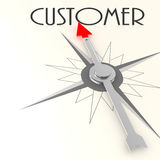 Compass with customer value word. Compass with customer word image with hi-res rendered artwork that could be used for any graphic design Stock Images