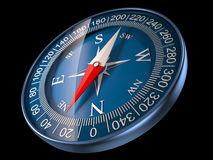Compass 3D Illustration. Blue compass isolated on black background Stock Photography