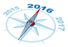 Compass 2016. 3D rendering of a compass with a 2016 icon Royalty Free Stock Photo