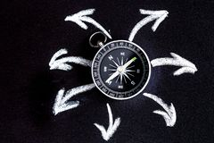 Compass on dark background concept - arrows, direction top view stock photos