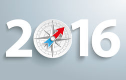 2016 Compass. Date 2016 with compass on the gray background Royalty Free Stock Photo
