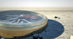 Compass In The Desert Royalty Free Stock Photos