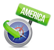Compass directed to America Stock Photos