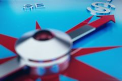 Compass Direction, Blue Tint Background, 3d rendering. Compass Direction, Blue Tint Background. 3d rendering Stock Photo