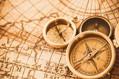 Compass. Direction Map Three Objects Discovery Cartography Antique Stock Images